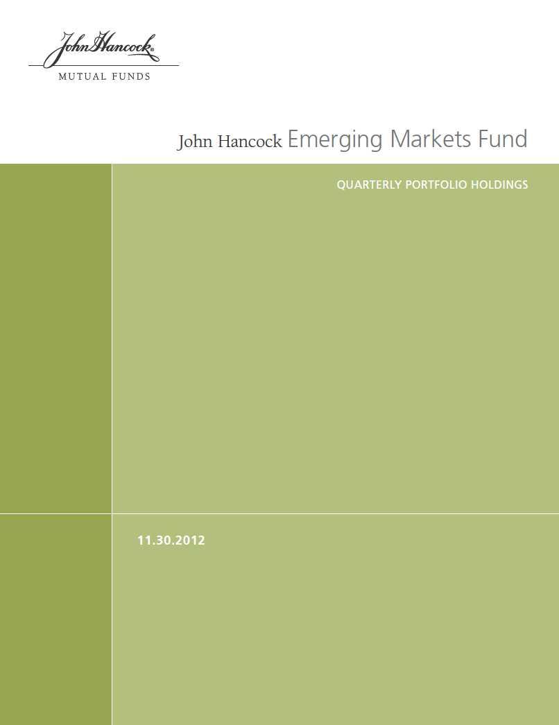 John Hancock Funds II Form N-Q Filed 2013-01-29